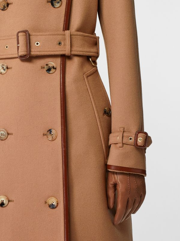 Button Panel Detail Wool Cashmere Trench Coat in Camel - Women | Burberry United Kingdom - cell image 3