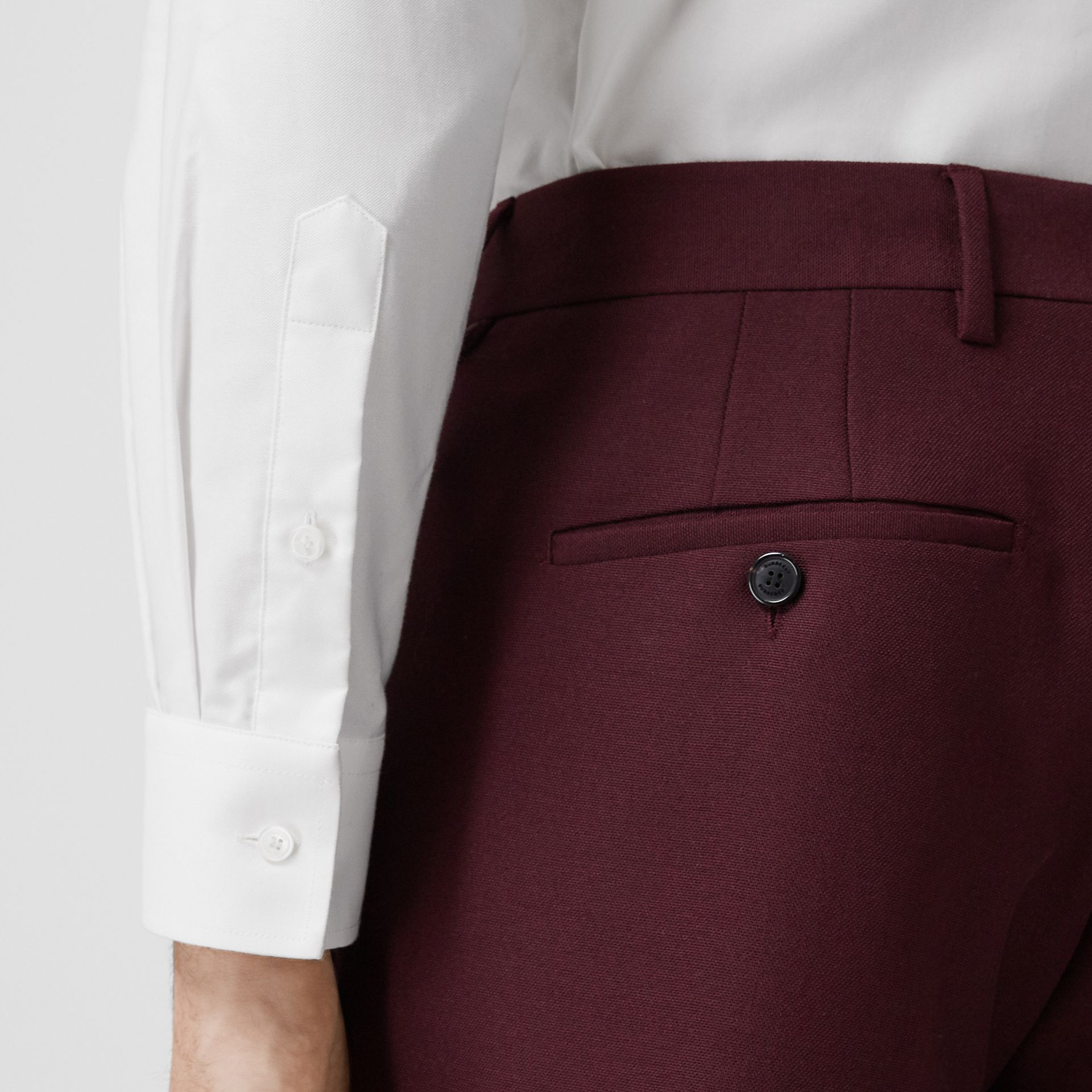 Classic Fit Wool Mohair Tailored Trousers in Deep Burgundy - Men | Burberry - gallery image 1