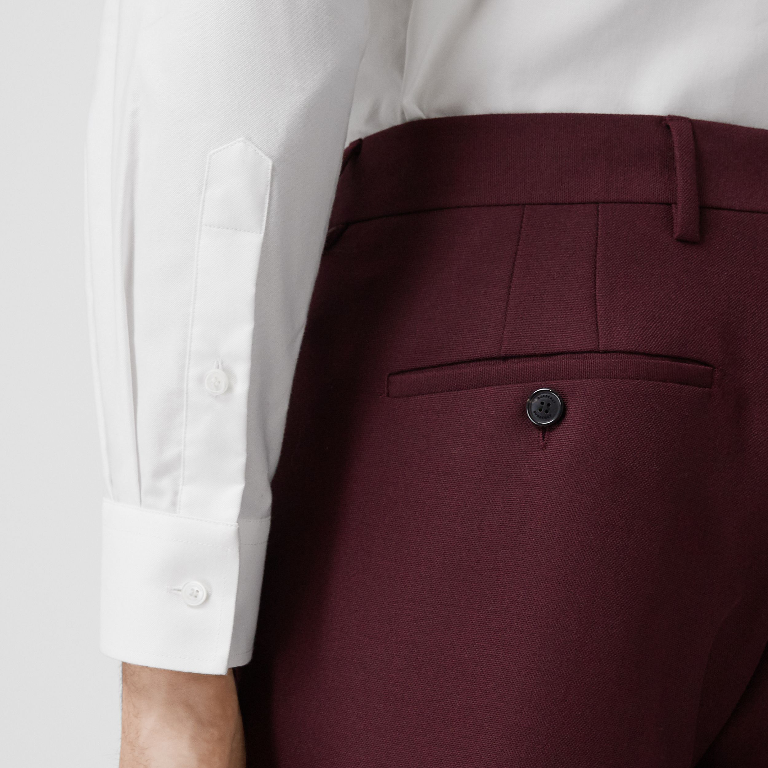 Classic Fit Wool Mohair Tailored Trousers in Deep Burgundy - Men | Burberry United Kingdom - 2