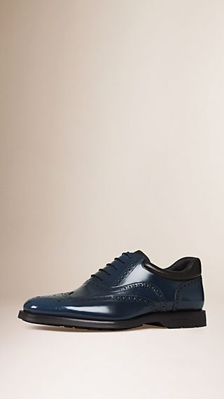 Cushion Detail Leather Wingtip Brogues