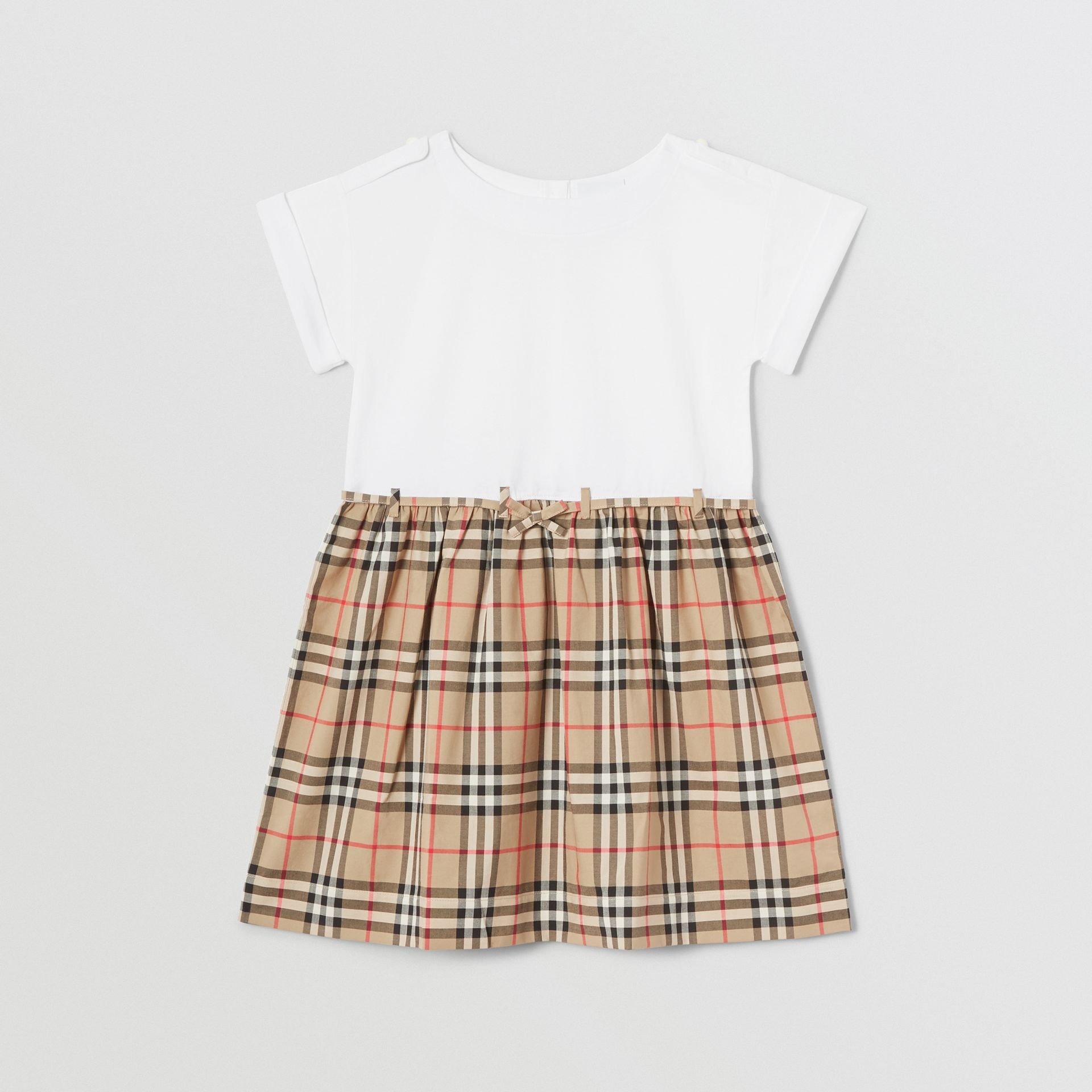 Vintage Check Detail Cotton Dress in White | Burberry - gallery image 0