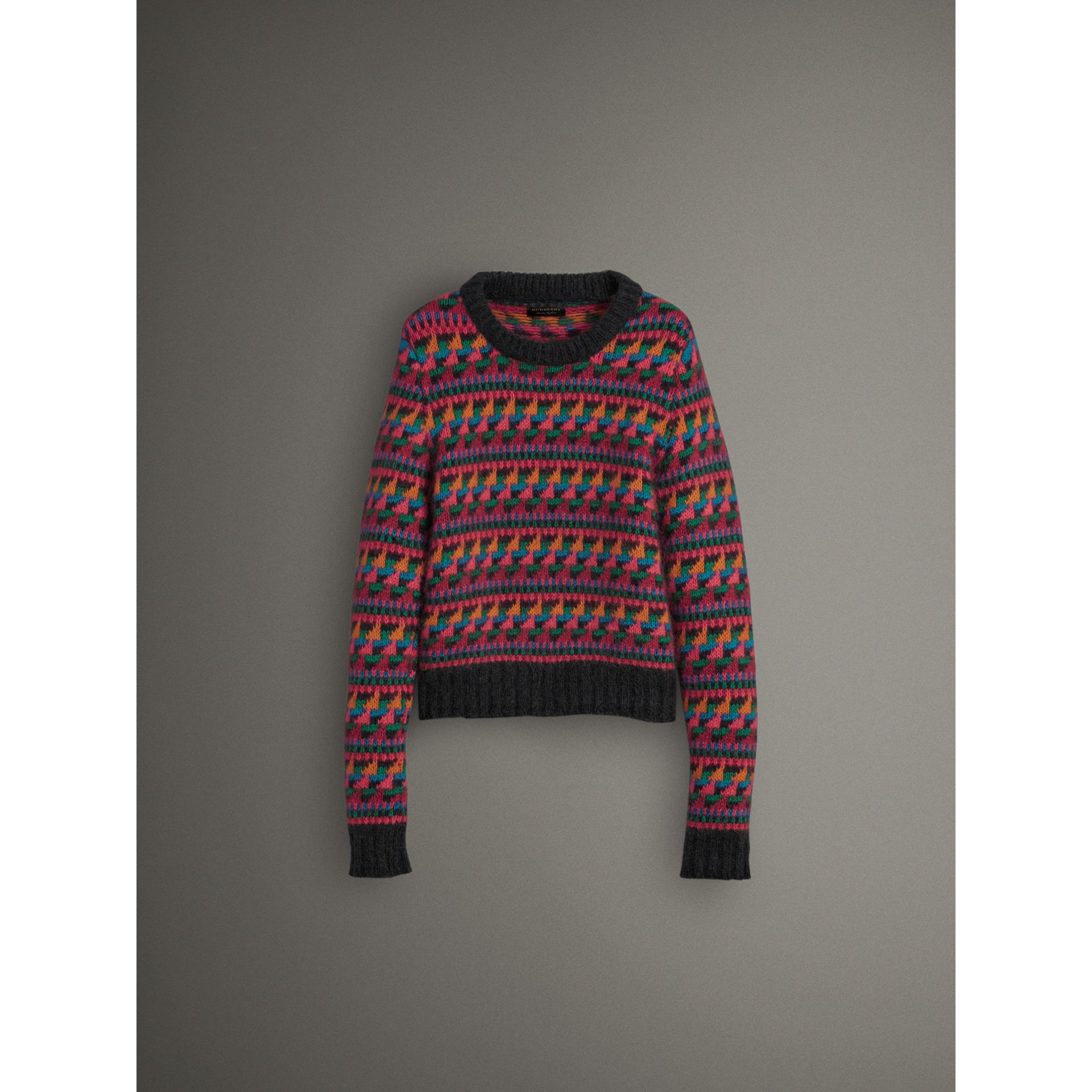 Fair Isle Knitted Wool Mohair Blend Sweater in Multicolour - Women | Burberry - gallery image 3