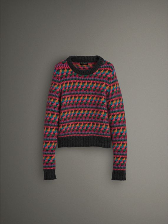 Fair Isle Knitted Wool Mohair Blend Sweater in Multicolour - Women | Burberry Canada - cell image 3