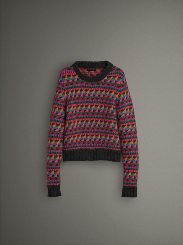 Fair Isle Knitted Wool Mohair Blend Sweater in Multicolour - Women | Burberry - cell image 3