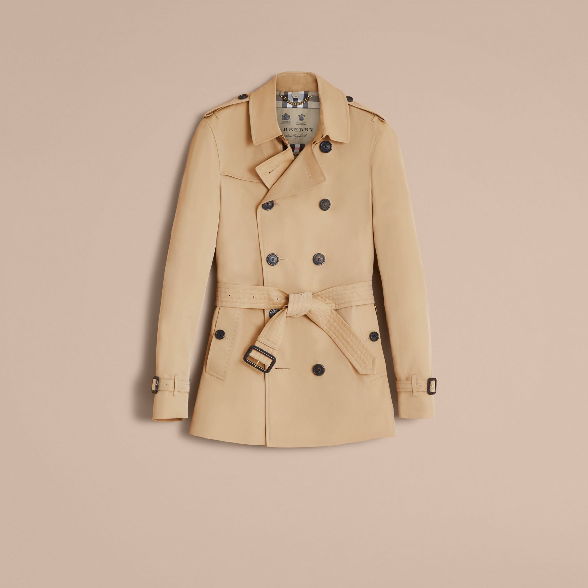 The Chelsea – Short Heritage Trench Coat in Honey - gallery image 4