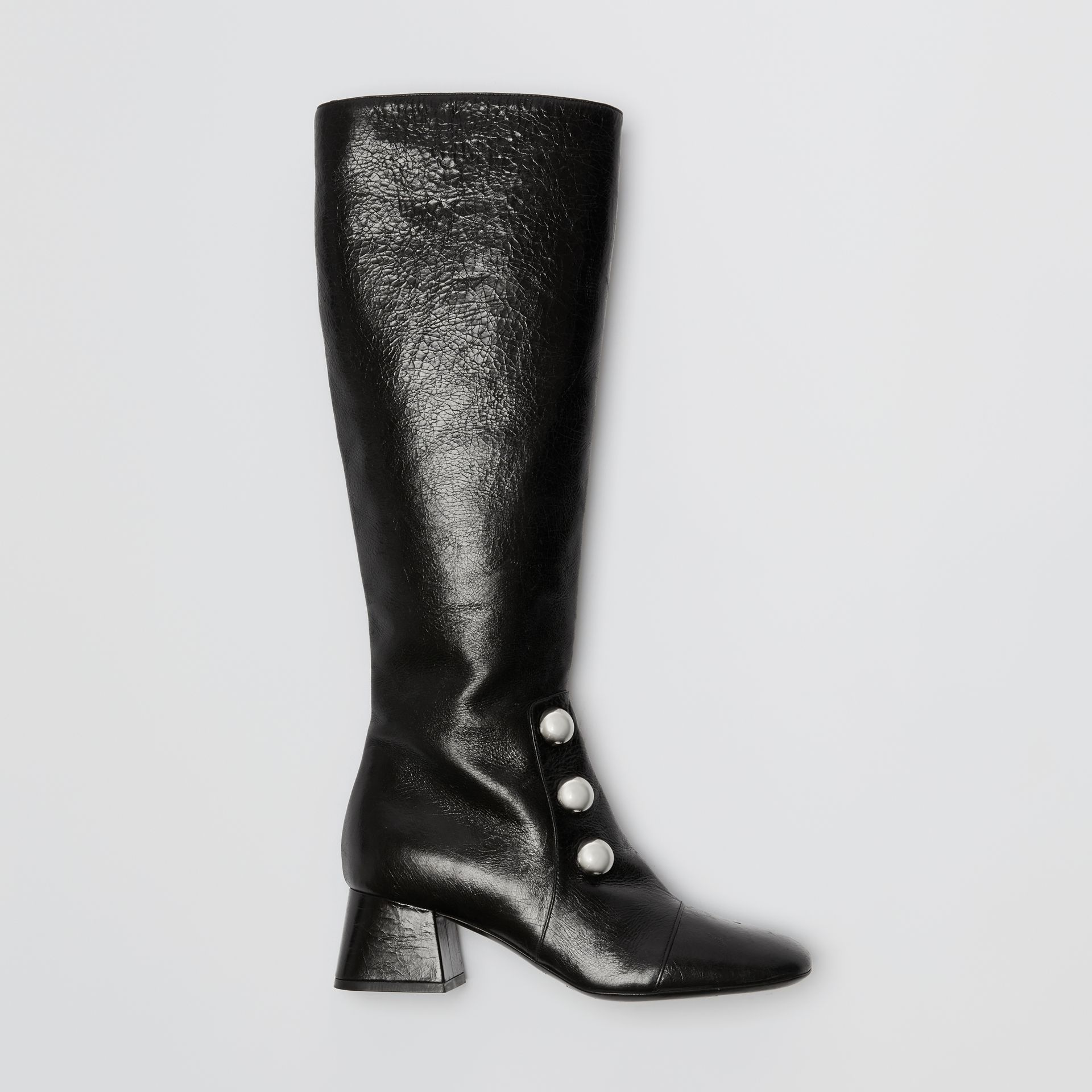 Stud Detail Leather Knee-high Boots in Black - Women | Burberry United States - gallery image 0