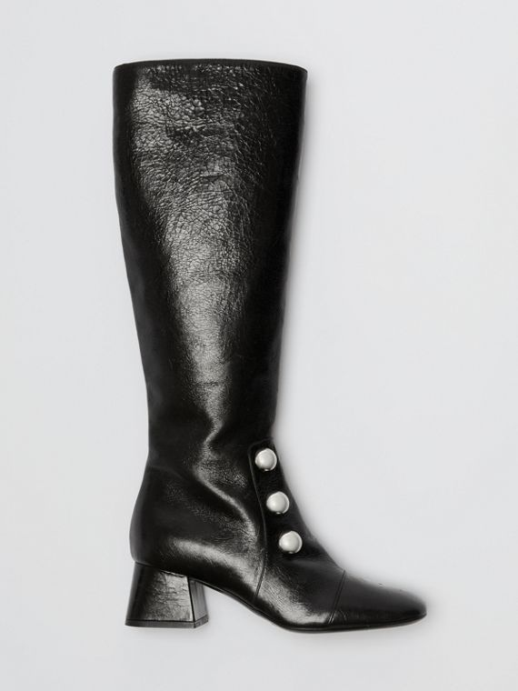 Stud Detail Leather Knee-high Boots in Black