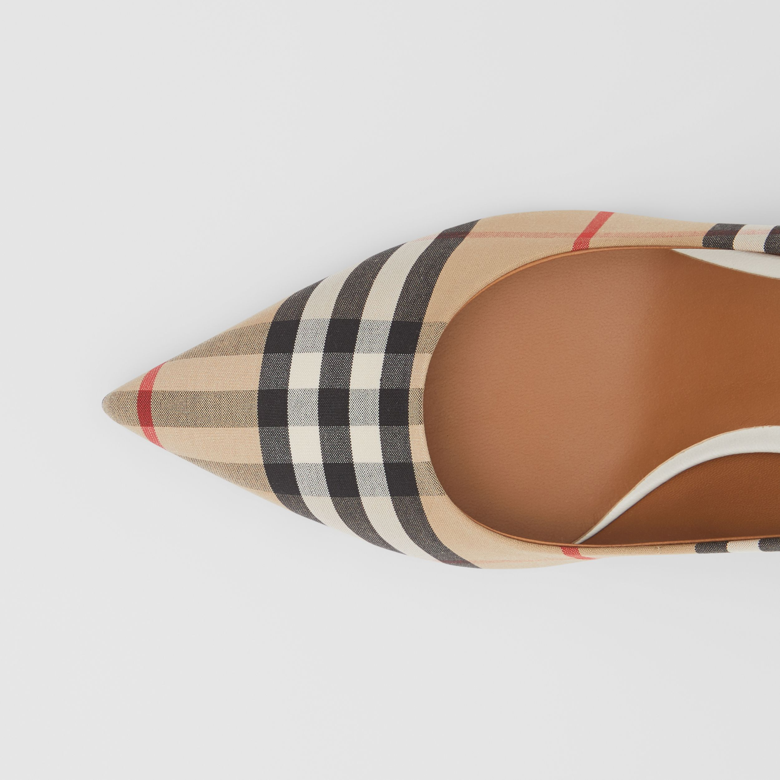 Vintage Check Cotton Pumps in Archive Beige - Women | Burberry - 2