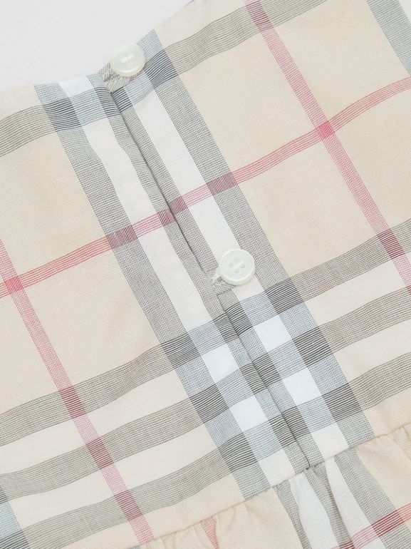Ruffled Check Cotton Dress with Bloomers in Pale Stone - Children | Burberry - cell image 1