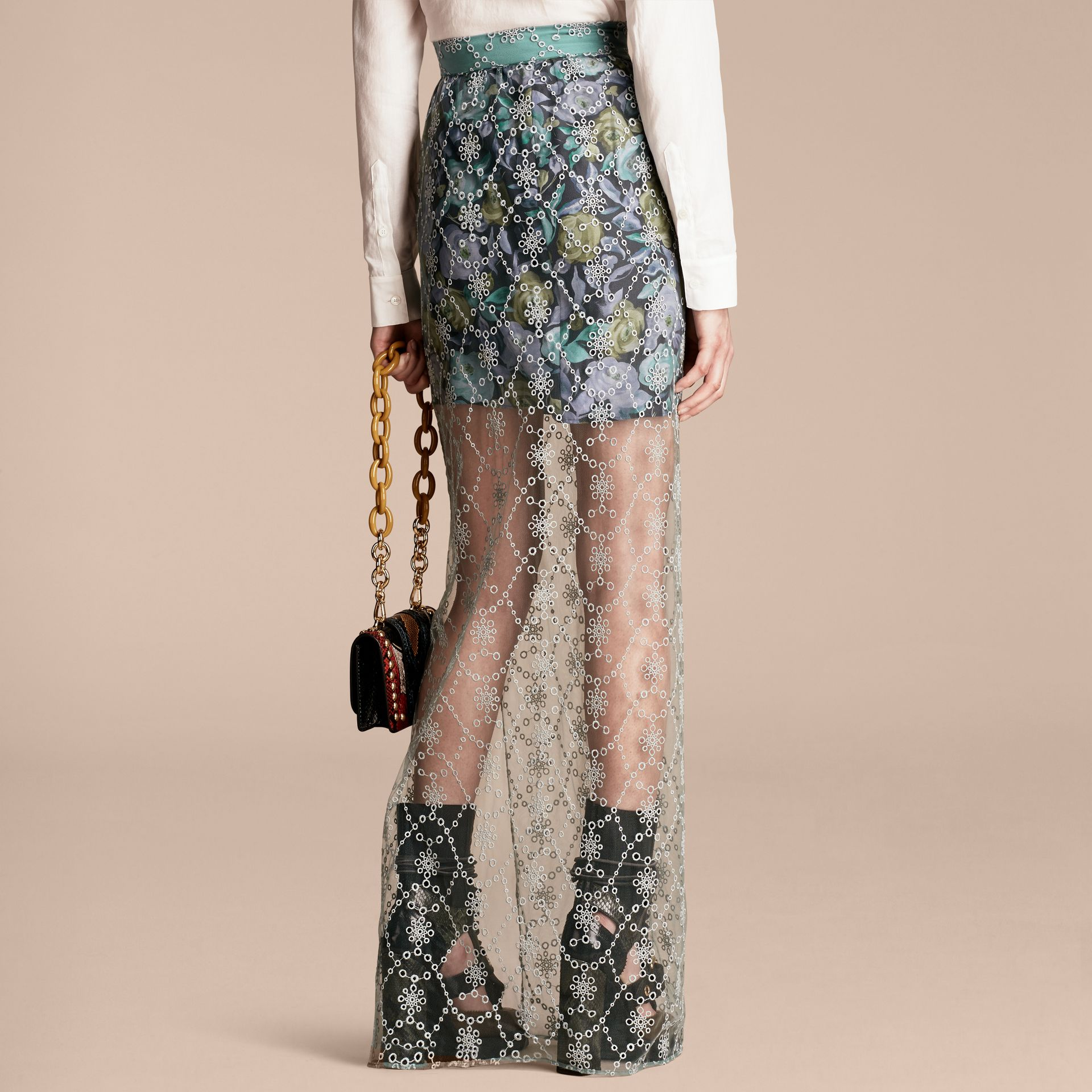 Aqua green Embroidered Tulle Column Skirt with Rose Print Lining - gallery image 3