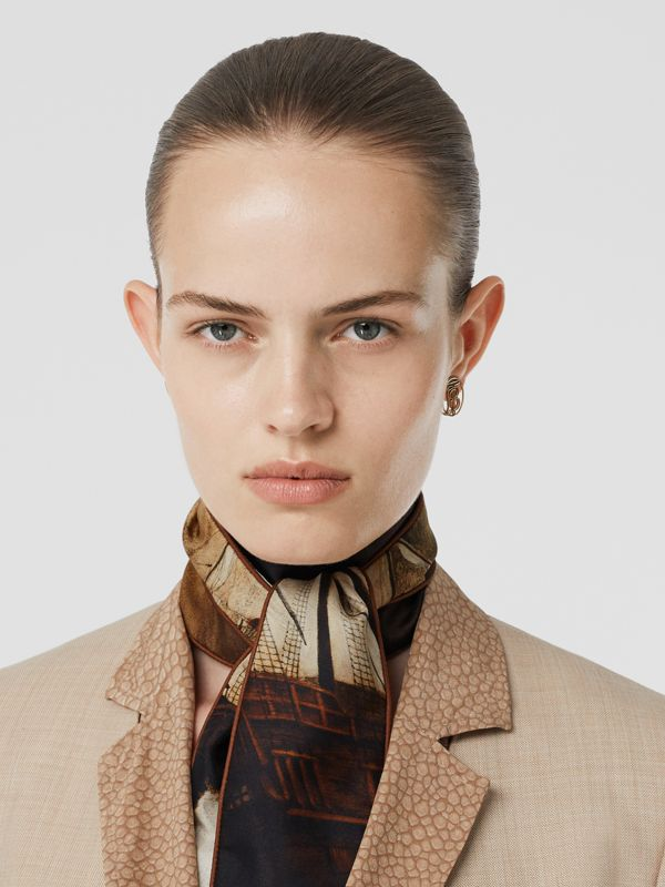 Mariner Print Silk Skinny Scarf in Brown | Burberry United States - cell image 2