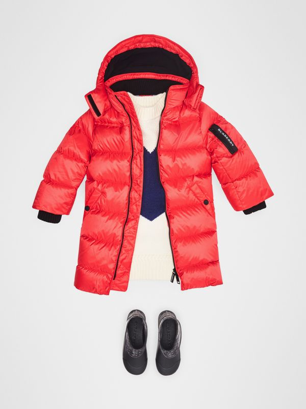 Detachable Hood Down-filled Puffer Coat in Bright Orange Red | Burberry - cell image 2