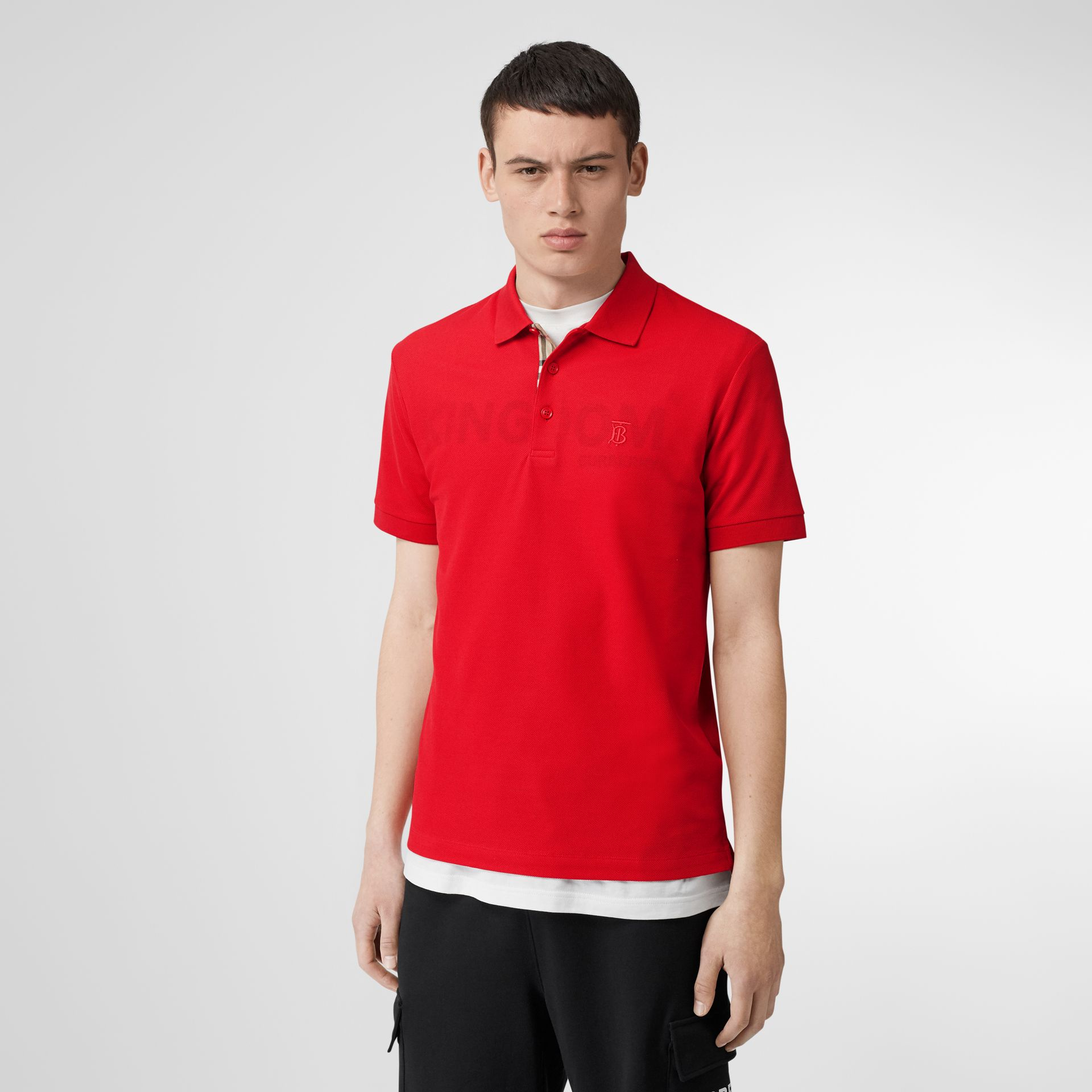 Monogram Motif Cotton Piqué Polo Shirt in Bright Red - Men | Burberry United Kingdom - gallery image 4