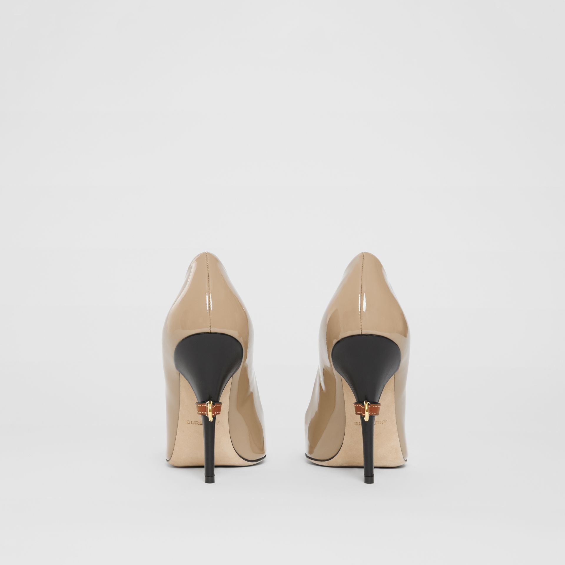 D-ring Detail Patent Leather Square-toe Pumps in Dark Honey - Women | Burberry United Kingdom - gallery image 4