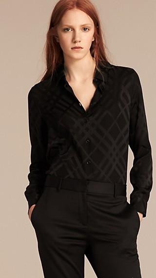 Tonal Check Silk Shirt