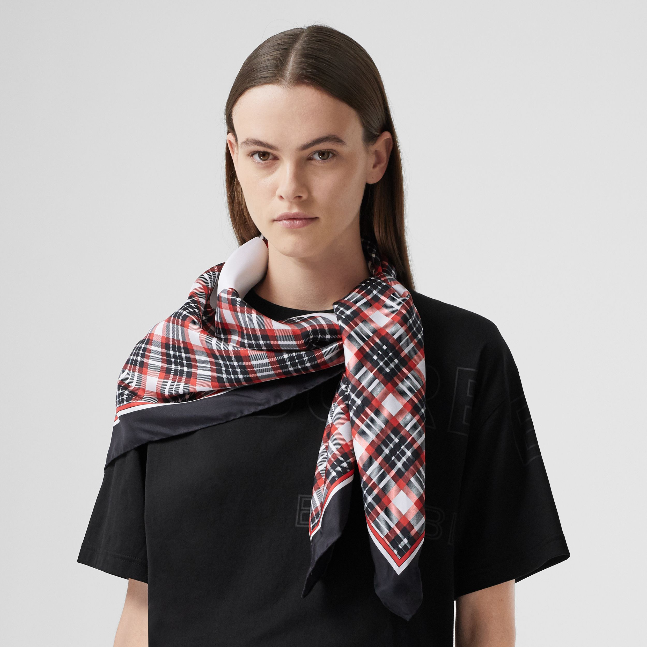 Star Motif Check Print Silk Square Scarf in Bright Red | Burberry - 3
