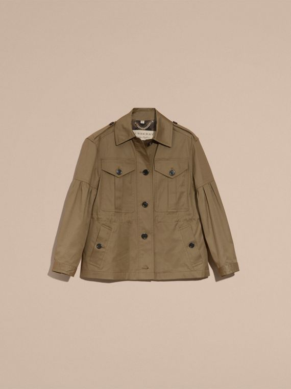 Sage Stretch Cotton Field Jacket with Puff Sleeves - cell image 3
