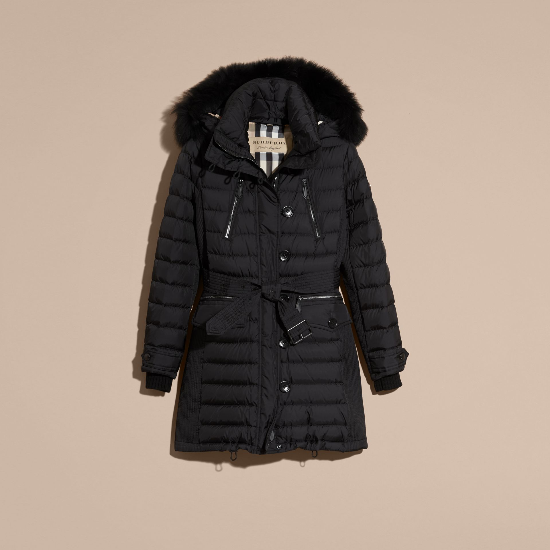 Black Down-filled Parka with Detachable Fox Fur Trim Black - gallery image 4