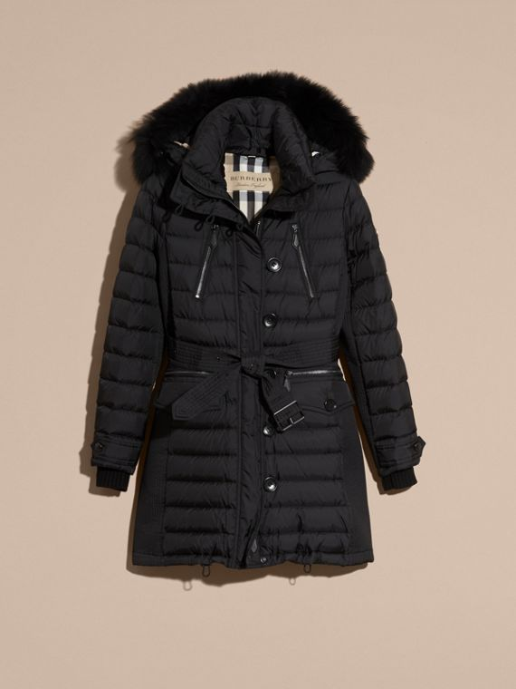 Black Down-filled Parka with Detachable Fox Fur Trim Black - cell image 3