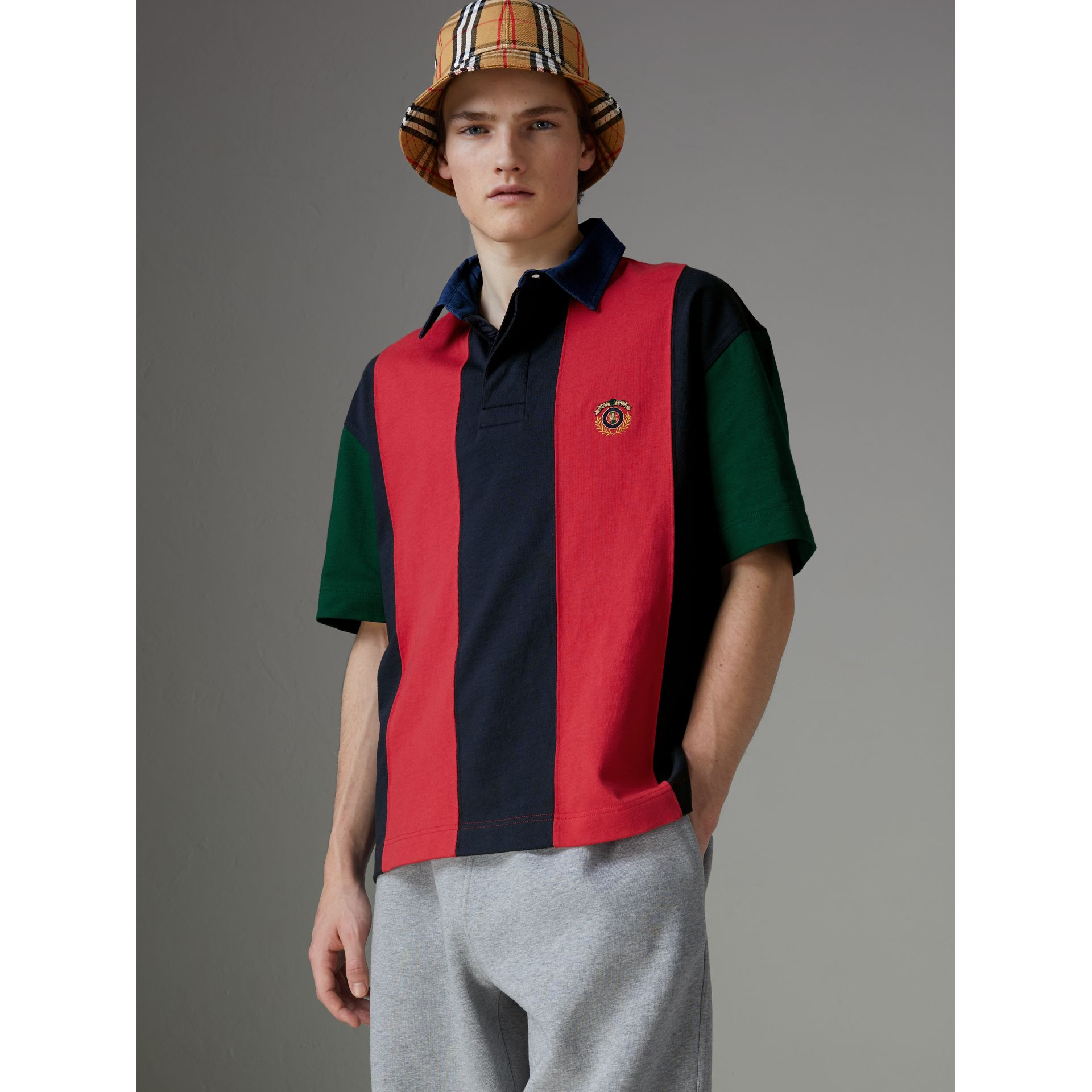 Reissued Striped Cotton Polo Shirt in Bright Red - Men | Burberry - gallery image 4