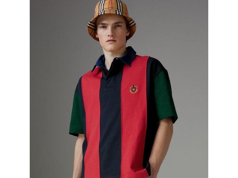 Reissued Striped Cotton Polo Shirt in Bright Red - Men | Burberry - cell image 4