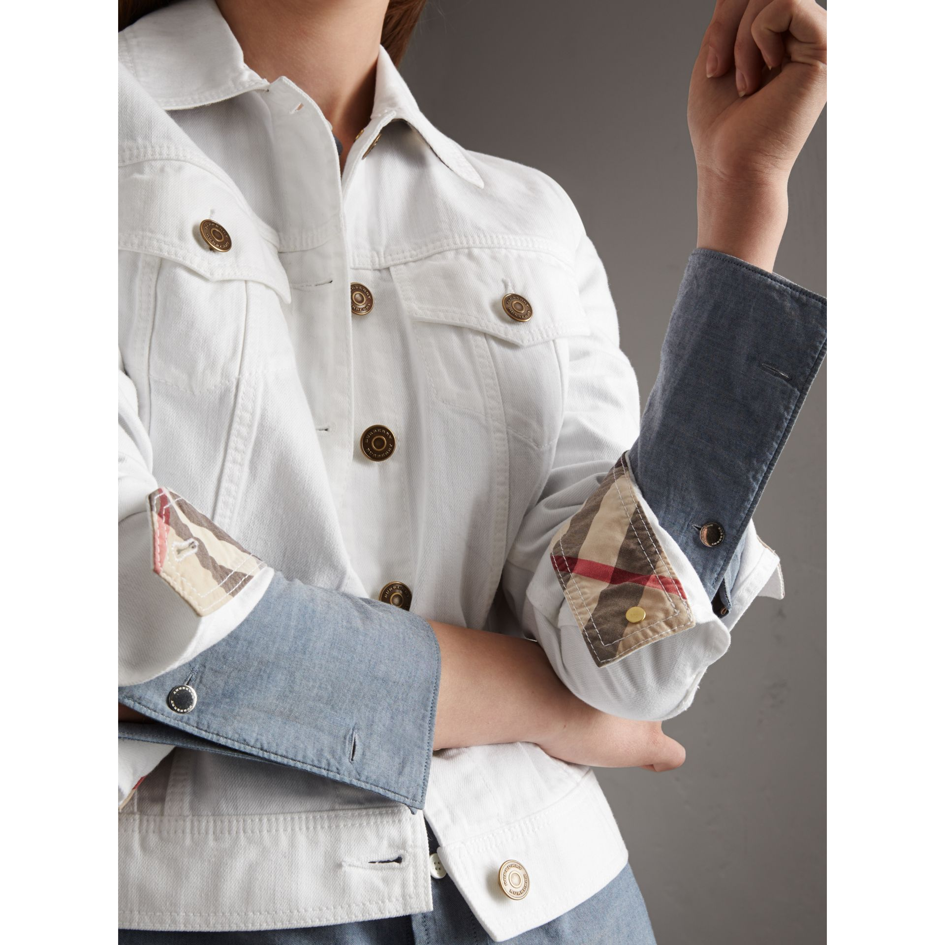 Check Detail Denim Jacket in White - Women | Burberry - gallery image 2
