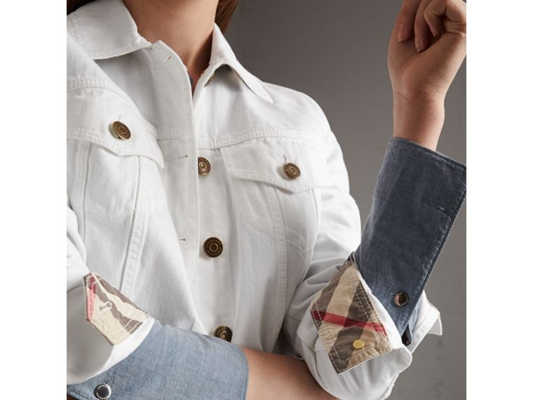 Check Detail Denim Jacket in White - Women | Burberry - cell image 1