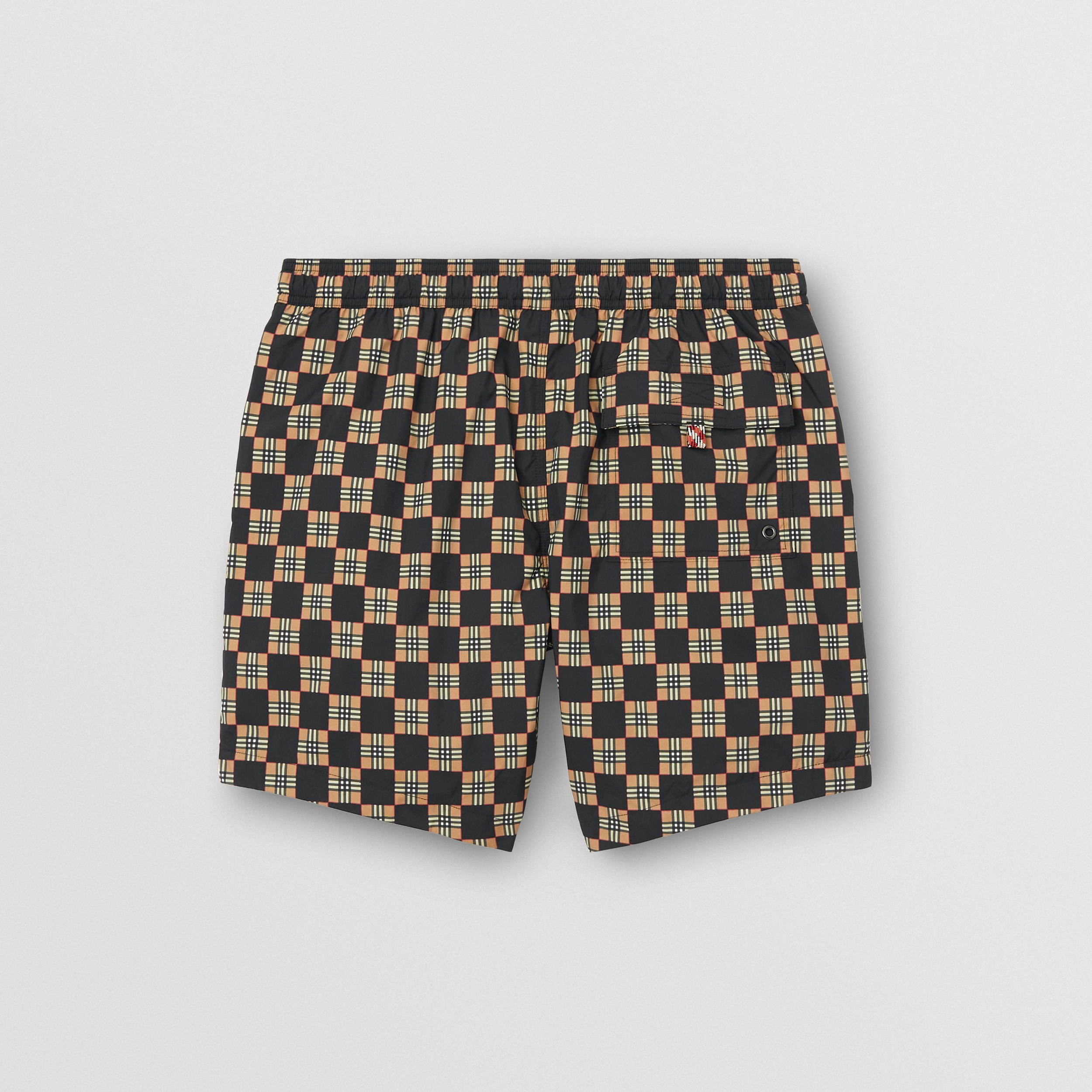 Chequer Print Drawcord Swim Shorts in Archive Beige - Men | Burberry - 4