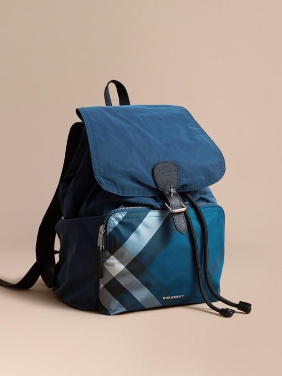 Check Detail Technical Packaway Rucksack in Dark Teal Green
