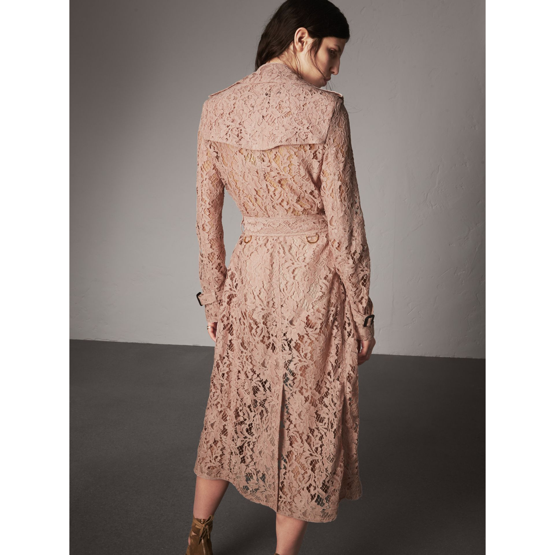 Macramé Lace Trench Coat in Pale Pink - Women | Burberry Singapore - gallery image 3