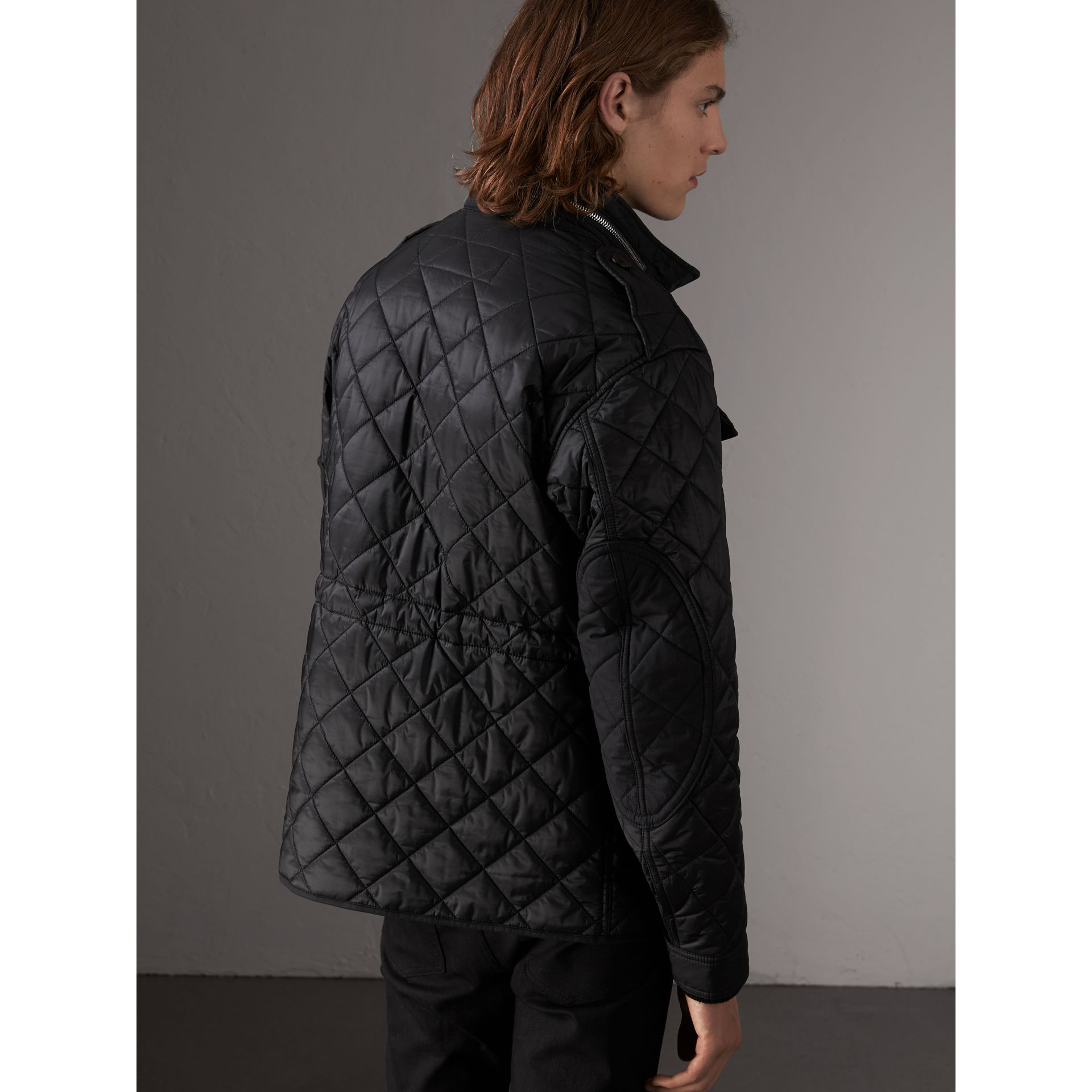 Packaway Hood Diamond Quilted Field Jacket in Black - Men | Burberry United Kingdom - gallery image 3