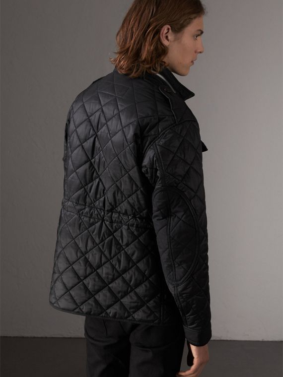 Packaway Hood Diamond Quilted Field Jacket in Black - Men | Burberry United Kingdom - cell image 2