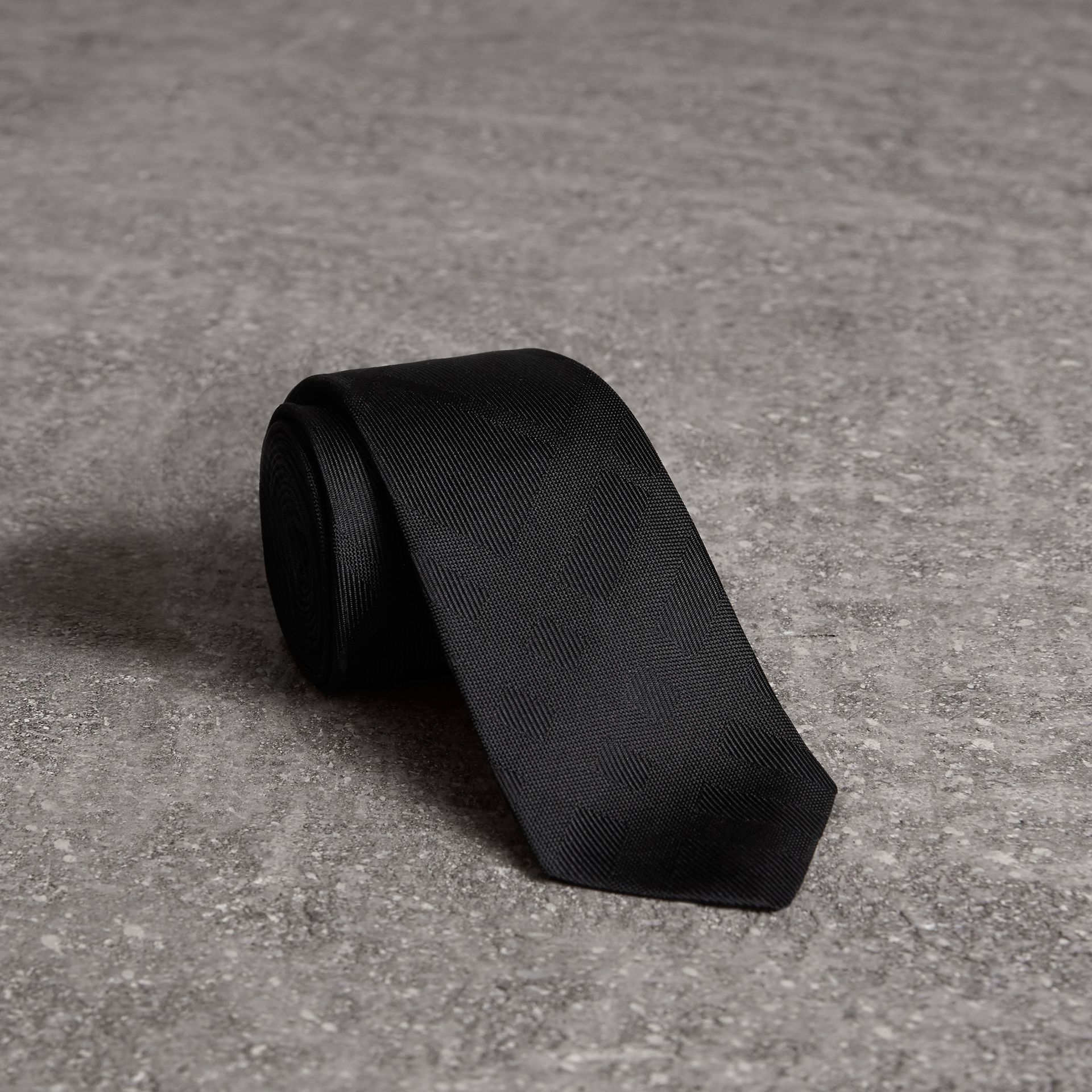 Slim Cut Check Silk Tie in Black - Men | Burberry Australia - gallery image 0