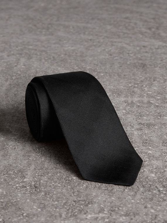 Slim Cut Check Silk Tie in Black