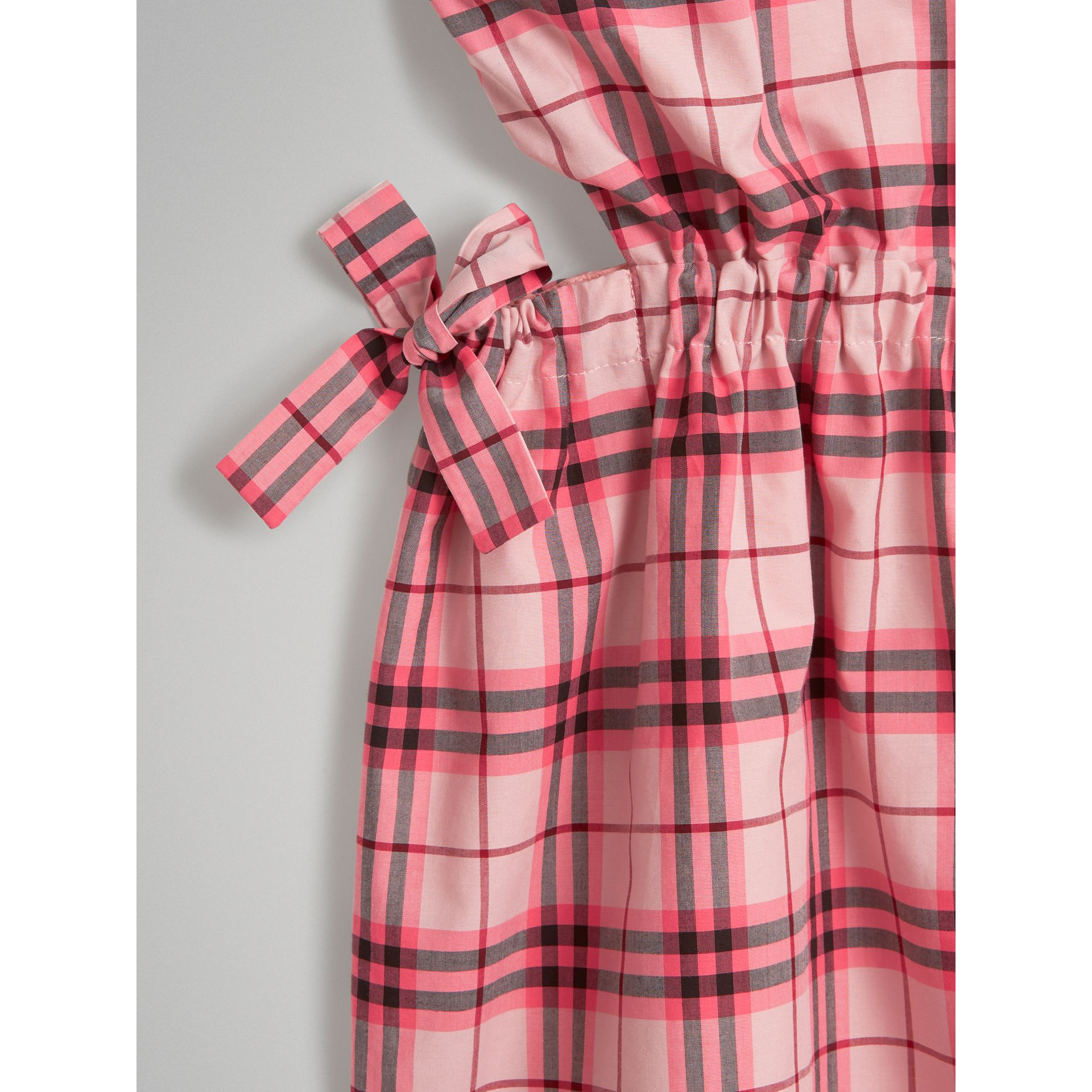 Tie Detail Check Cotton Dress in Bright Rose - Girl | Burberry United States - gallery image 4