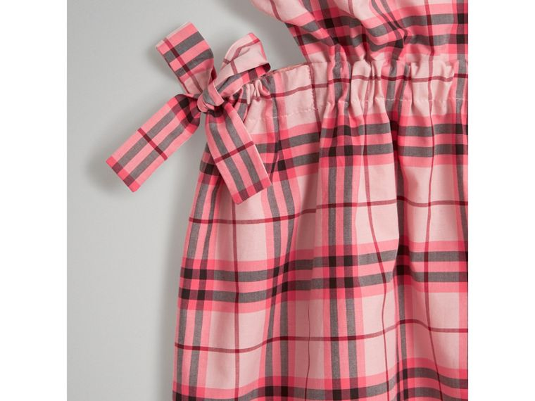 Tie Detail Check Cotton Dress in Bright Rose - Girl | Burberry - cell image 4