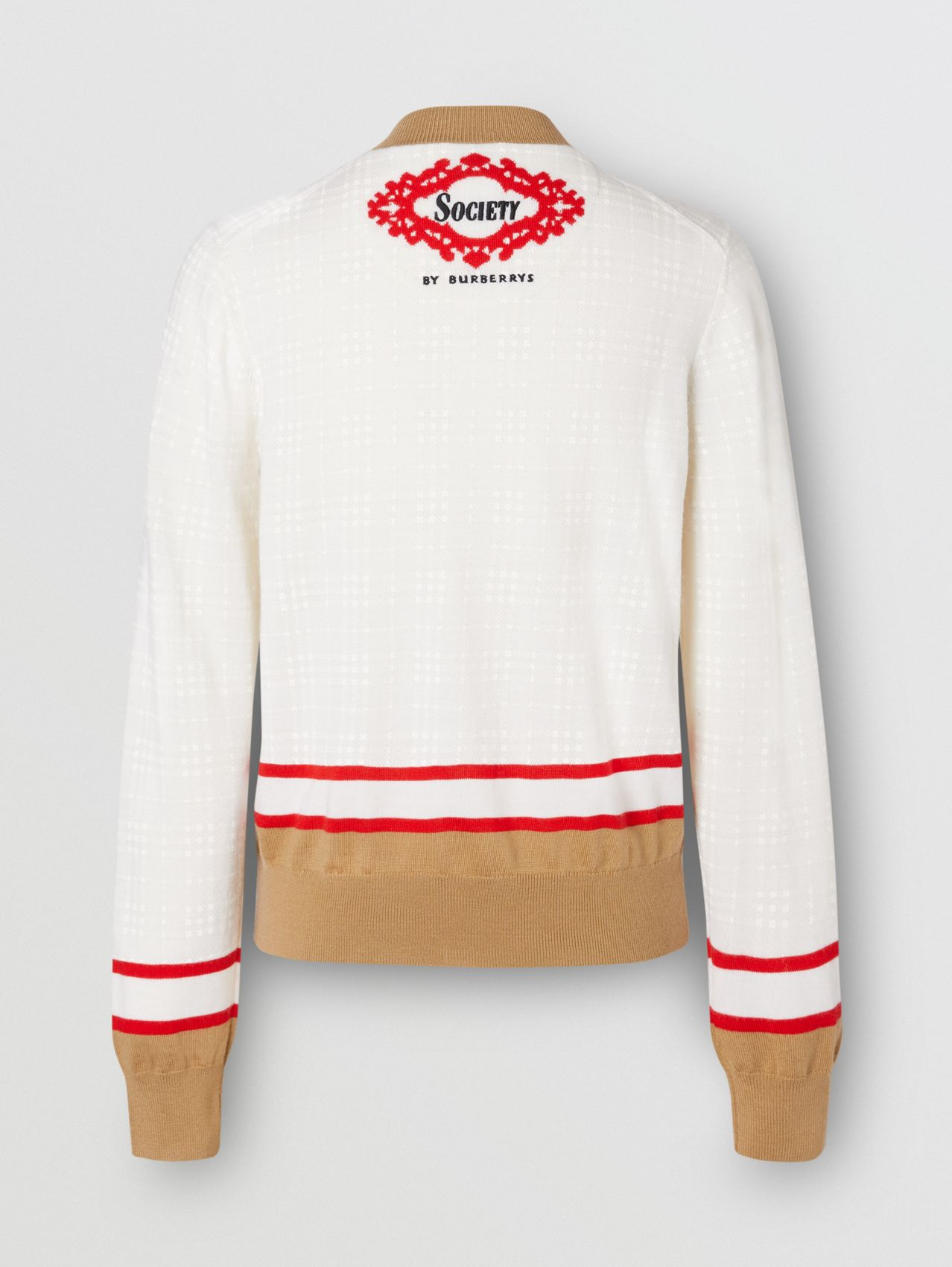 Archive Society Intarsia Wool Cardigan in White