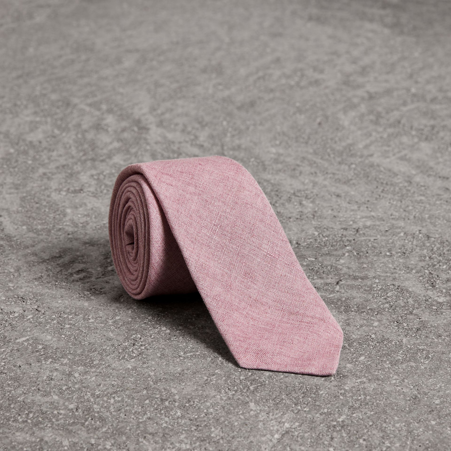 Slim Cut Linen Tie in Pink Heather - Men | Burberry - gallery image 0