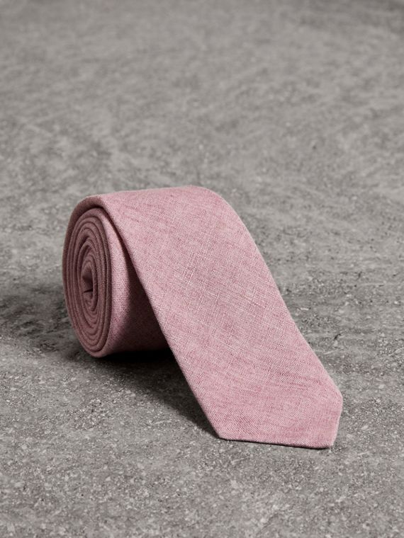 Slim Cut Linen Tie in Pink Heather