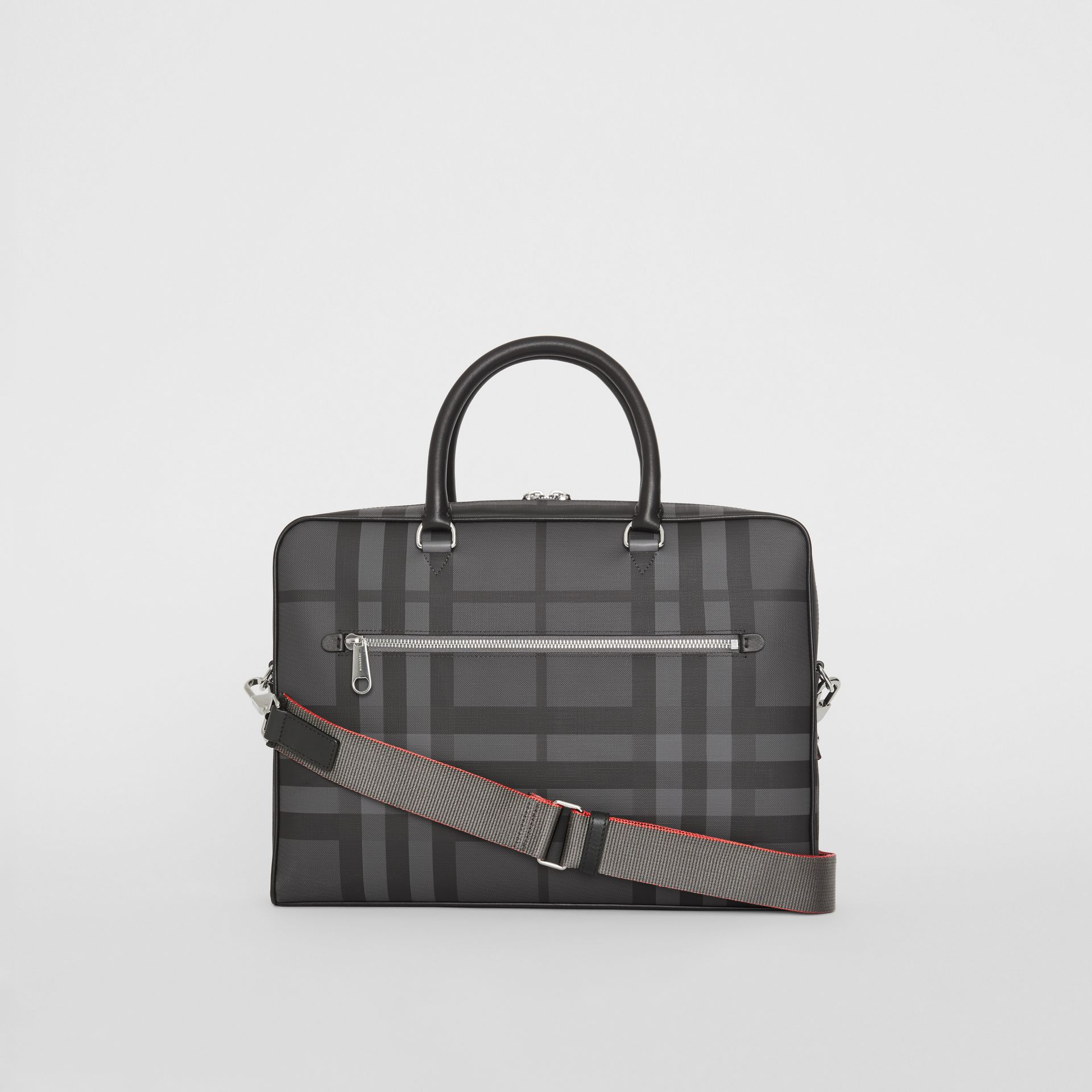 Attaché-case en cuir à motif London check et emblème du Cavalier (Anthracite/noir) - Homme | Burberry Canada - photo de la galerie 7