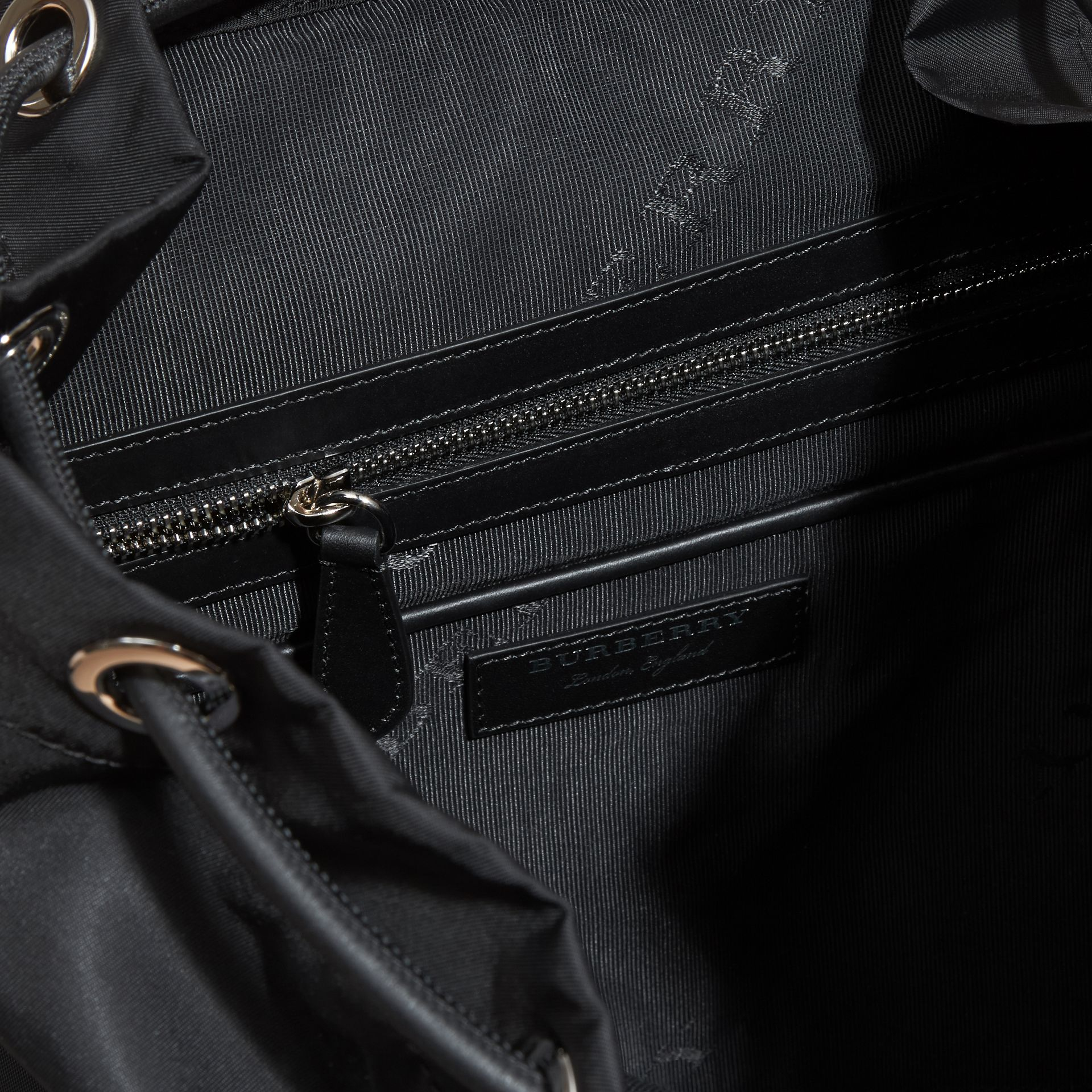The Large Rucksack in Technical Nylon and Leather Black/black - gallery image 6