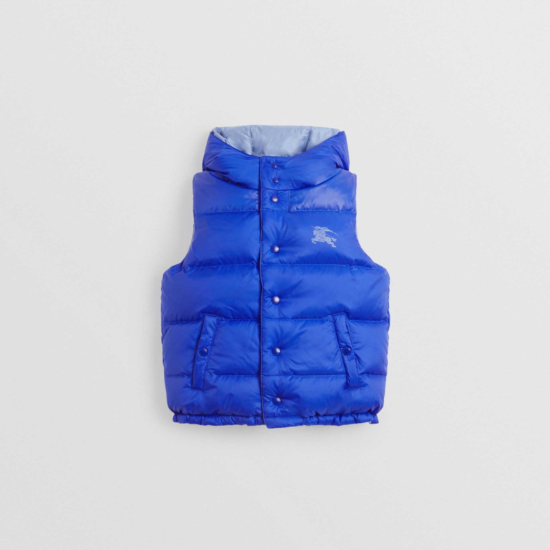 Reversible Showerproof Down-filled Hooded Gilet in Bright Spectrum Blue - Children | Burberry - gallery image 0
