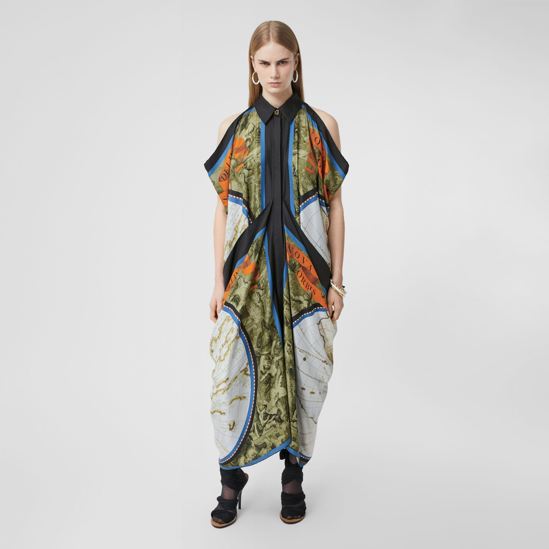 Map Print Draped Silk Dress in Antique Green | Burberry - gallery image 4