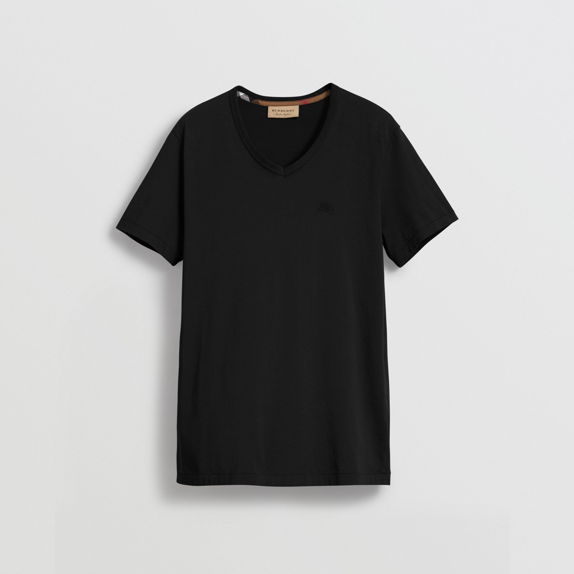 Cotton Jersey T-shirt in Black - Men | Burberry United Kingdom - gallery image 3