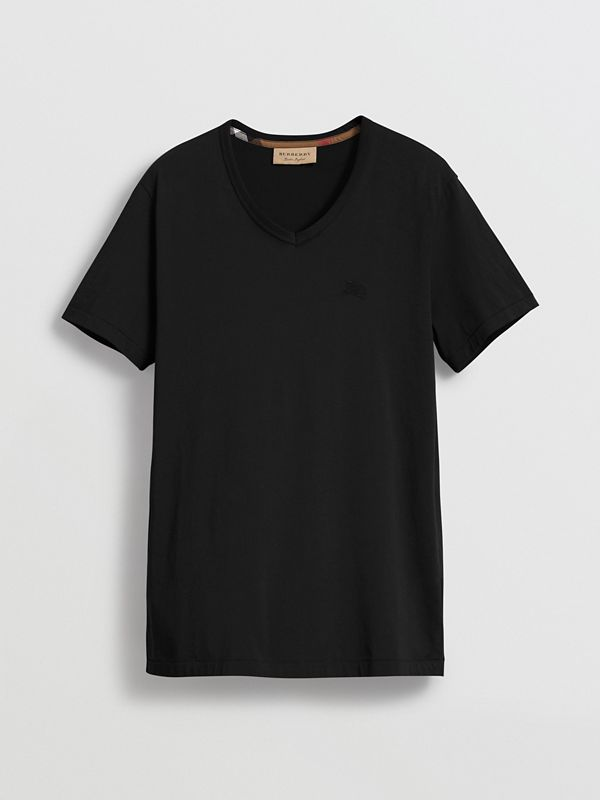 Cotton Jersey T-shirt in Black - Men | Burberry Canada - cell image 3