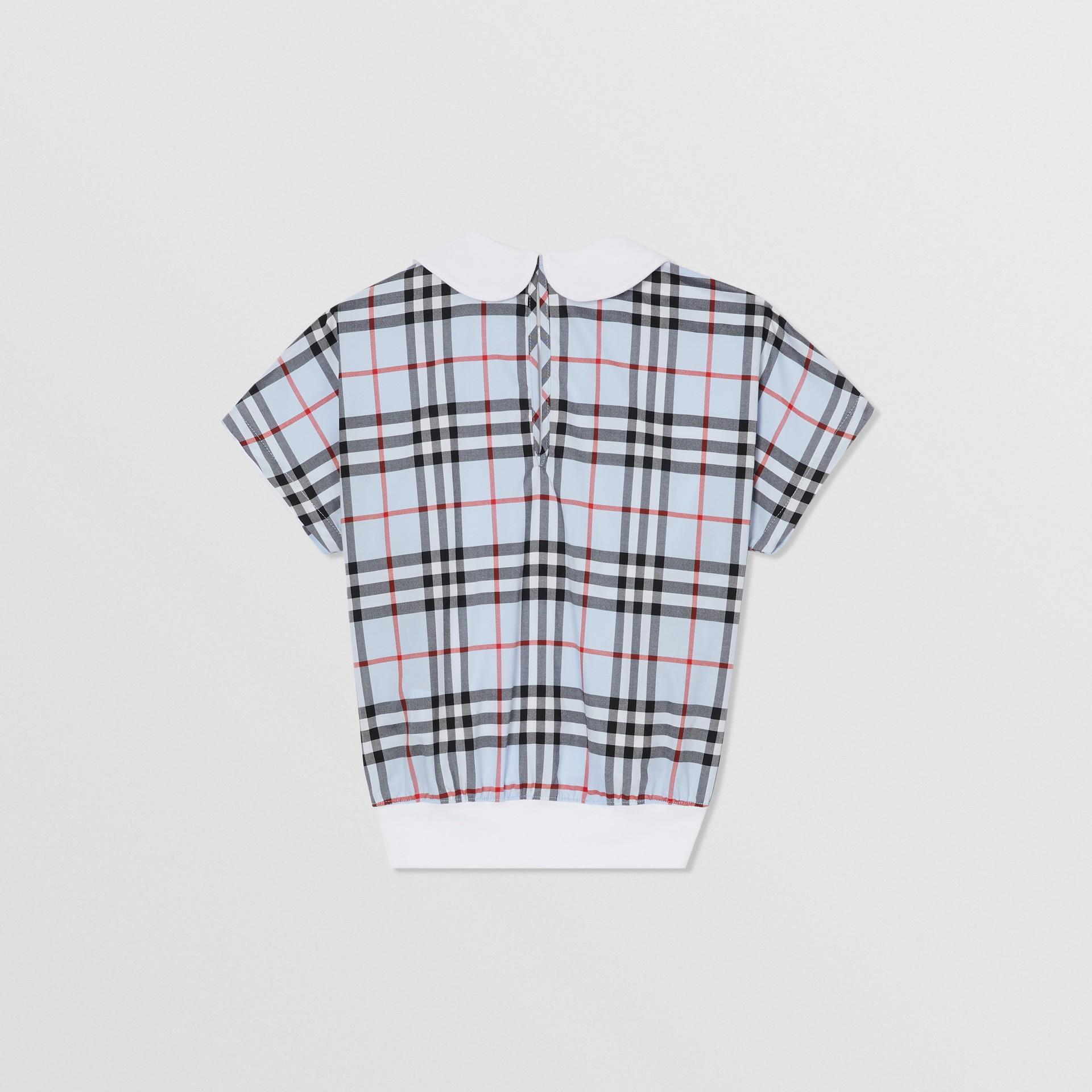 Blusa de algodão com recorte xadrez (Branco) | Burberry - galeria de imagens 3