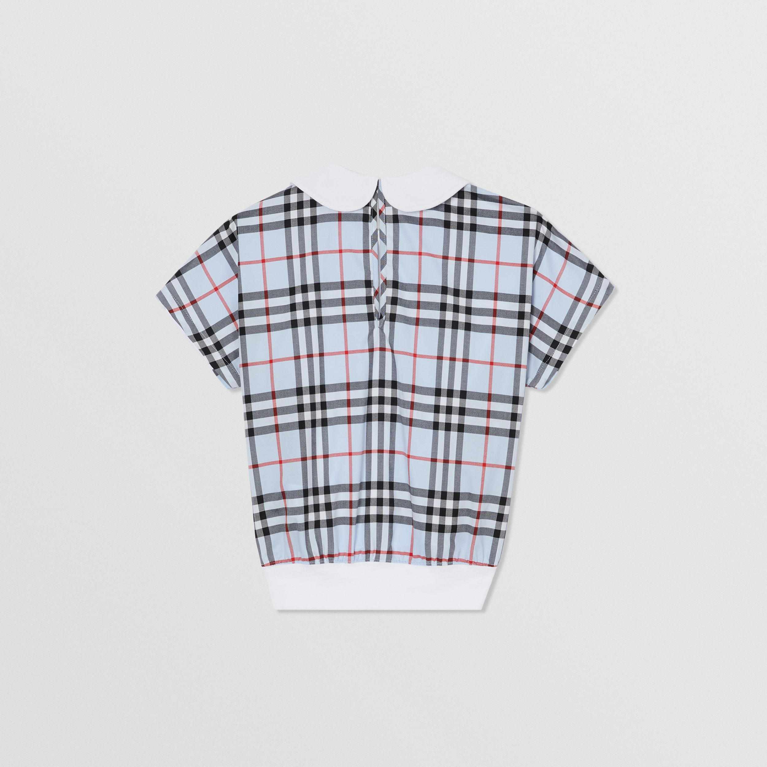 Check Panel Cotton Top in White | Burberry - 4