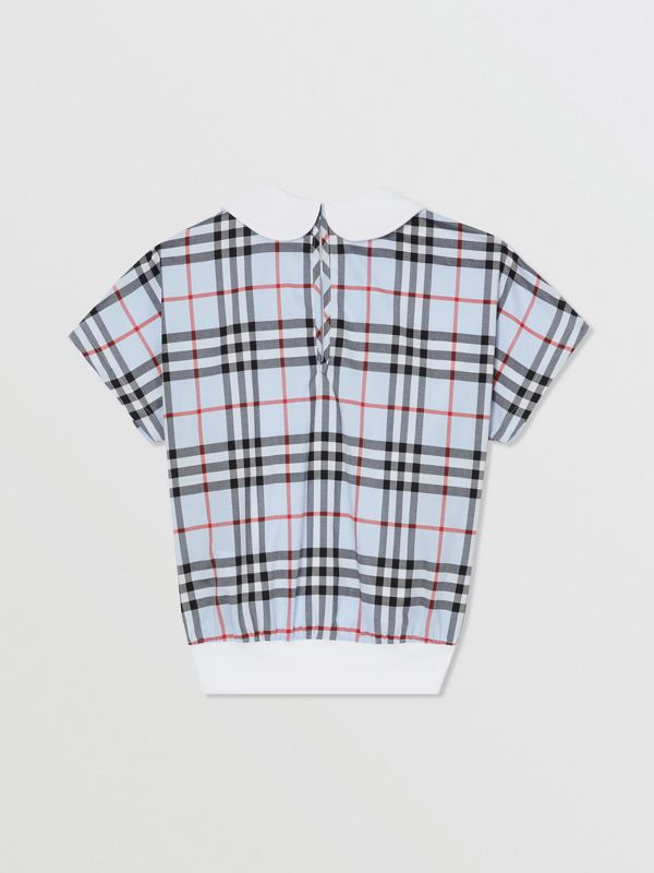 Check Panel Cotton Top in White | Burberry - cell image 3