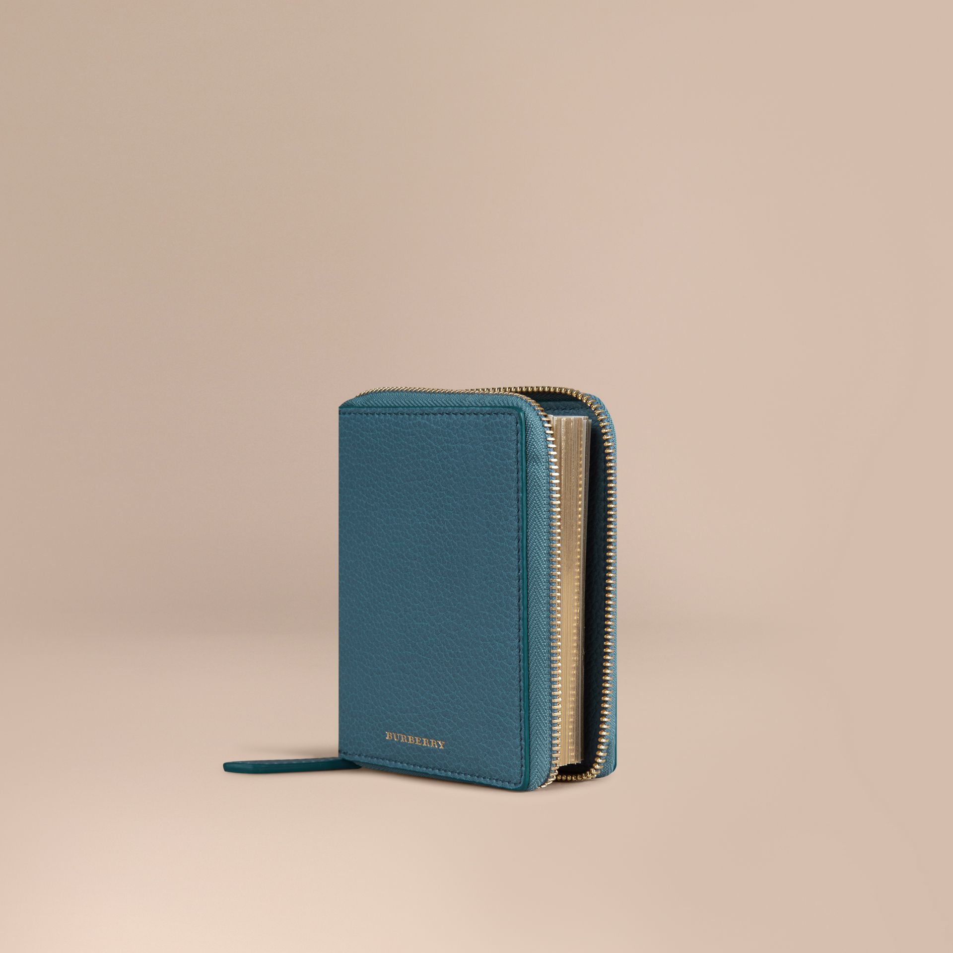 Ziparound Grainy Leather Mini Notebook in Dusty Teal | Burberry - gallery image 1