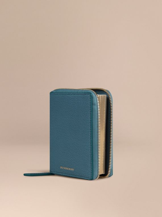 Ziparound Grainy Leather Mini Notebook in Dusty Teal | Burberry Canada